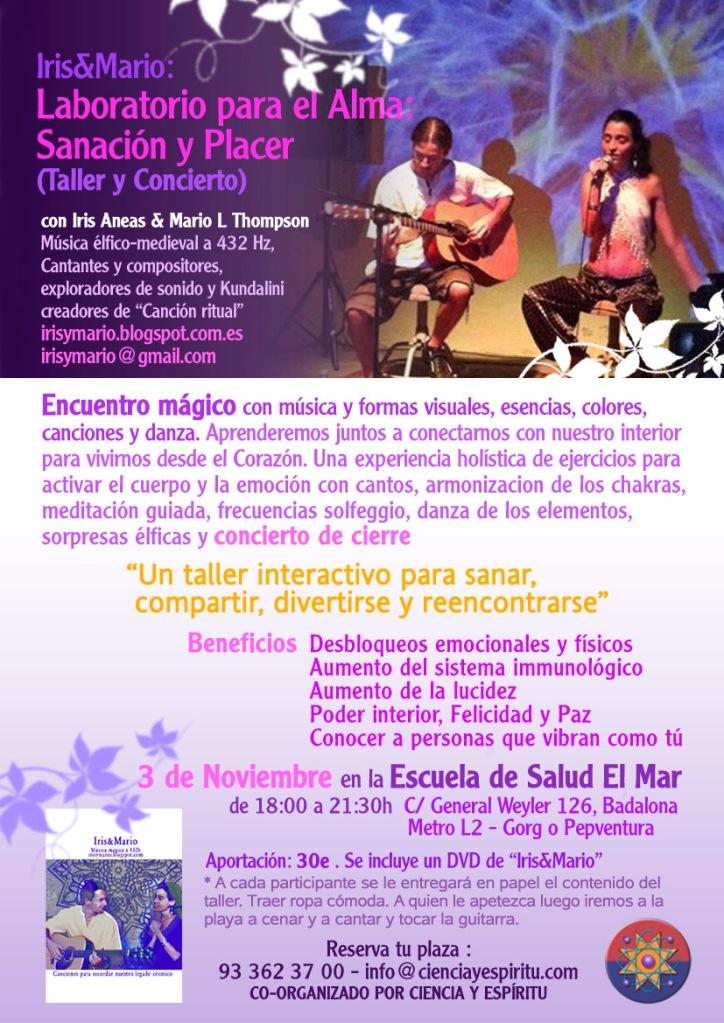 IRIS&MARIO: Laboratorio para el alma: Sanación y placer (taller y concierto) día 3 de Noviembre